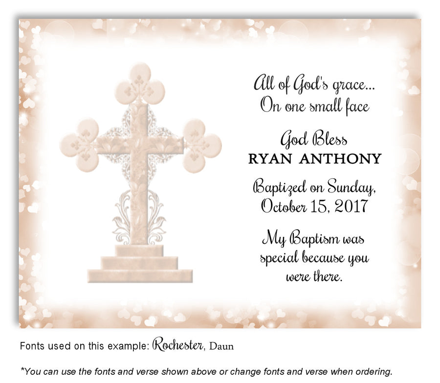 Lavender Ornamental Cross Thank You Baptism | Christening Magnet