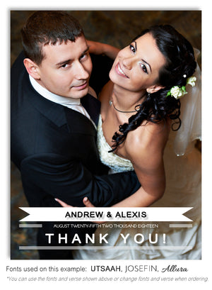 White Thank You Wedding Photo Magnet