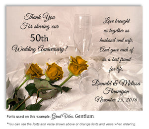 50th Gold Elegant Roses - Thank You Anniversary Magnet