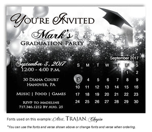 Black-White Calendar Invitation Graduation Magnet