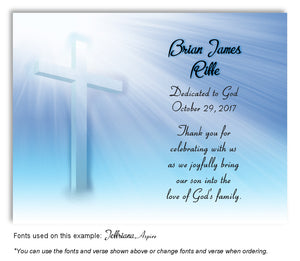 Blue Illuminated Cross Thank You Baptism | Christening Magnet