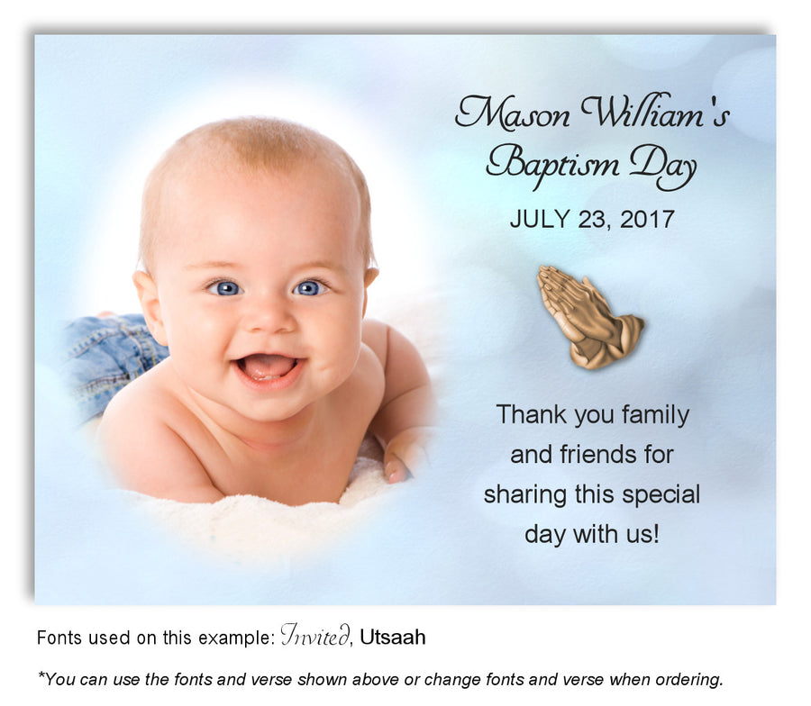 Tan Watercolor Thank You Photo Baptism Magnet