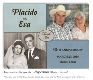 Blue Then and Now Thank you Anniversary Photo Magnet