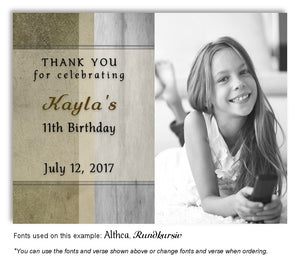 Browns and Gray Rustic Thank You Birthday Photo Magnet