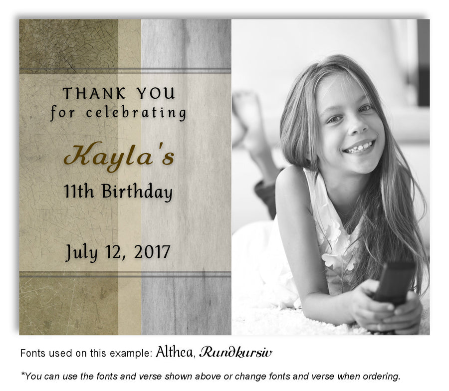 Browns and Blue Rustic Thank You Birthday Photo Magnet