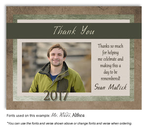 Browns and Greens Thank You Photo Graduation Magnet