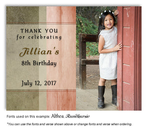 Browns and Peach Rustic Thank You Birthday Photo Magnet