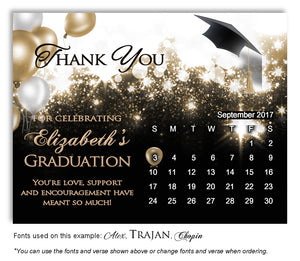 Gold Calendar Thank You Graduation Magnet