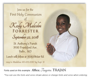 Light Gold Invitation Communion Photo Magnet