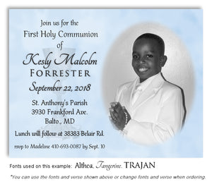 Light Blue Invitation Communion Photo Magnet