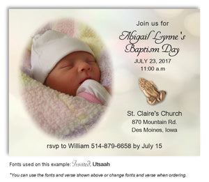 Light Green Watercolor Invitation Photo Baptism Magnet