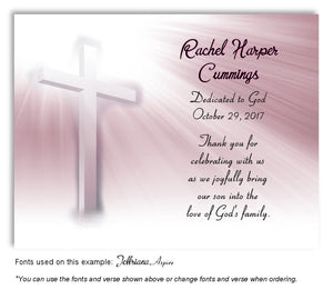 Light Pink Illuminated Cross Thank You Baptism | Christening Magnet