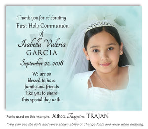 Light Turquoise Thank You Communion Photo Magnet