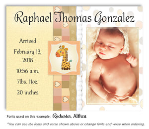 Orange Photo Birth Announcement Magnet