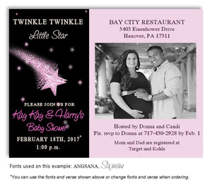 Pink Star Invitation Photo Baby Shower Magnet
