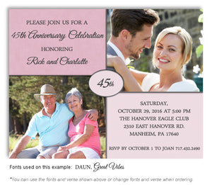 Pink Then and Now Invitation Anniversary Photo Magnet