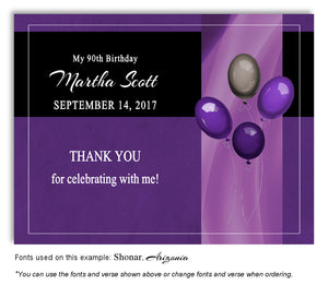 Purple Classy Balloons Thank You Birthday Magnet