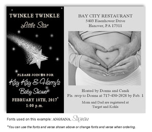 Silver Star Invitation Photo Baby Shower Magnet