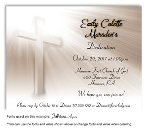 Light Taupe Illuminated Cross Invitation Baptism | Christening Magnet