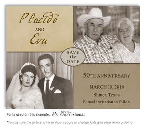 Gold Then and Now Save the Date Anniversary Photo Magnet