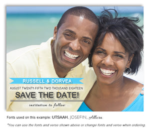 Turquoise Save the Date Wedding Photo Magnet