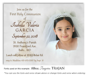 White Invitation Communion Photo Magnet