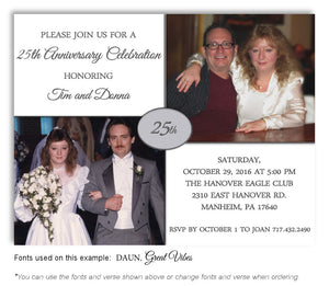 White Then and Now Invitation Anniversary Photo Magnet