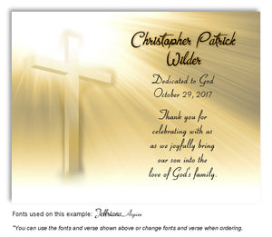Light Gold Illuminated Cross Thank You Baptism | Christening Magnet