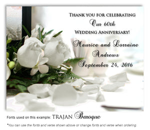 60th White Roses Thank You Anniversary Magnet