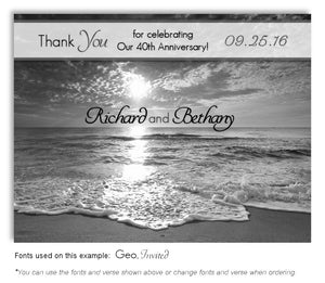 Black and White Ocean Tide Thank You Anniversary Magnet
