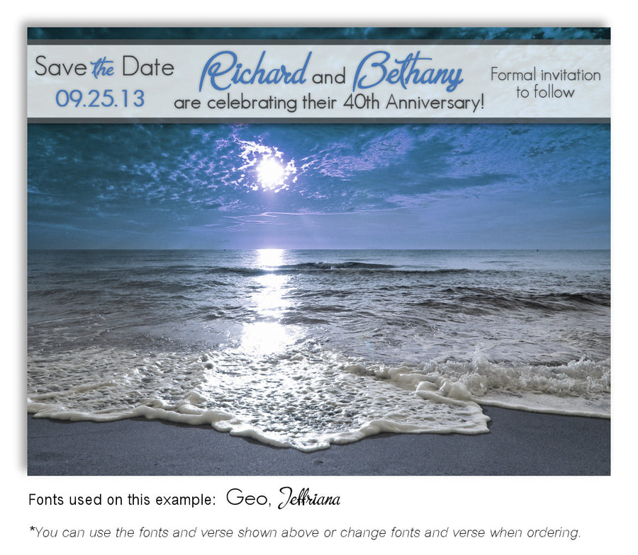 Morning Ocean Tide Invitation Anniversary Magnet
