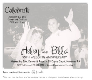 Black and White Faded Invitation Photo Anniversary Magnet