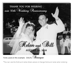 Black and White Thank You Photo Anniversary Magnet