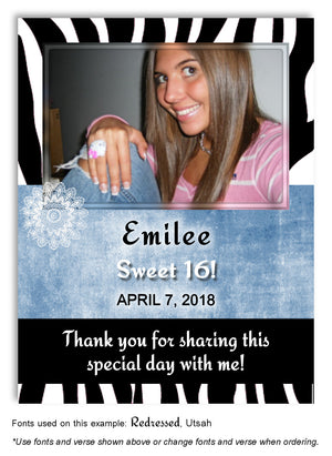 Black-Blue Zebra Thank You Birthday Photo Magnet