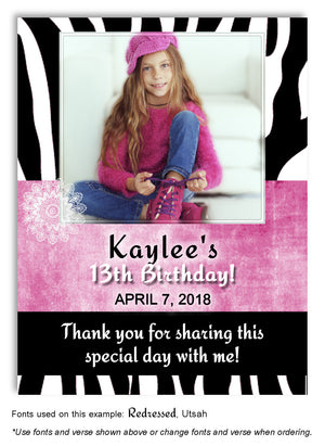 Black-Dark-Pink Zebra Thank You Birthday Photo Magnet