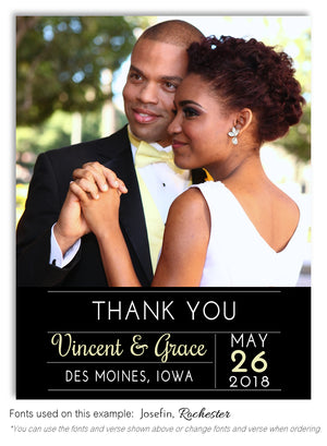 Black Thank You Wedding Photo Magnet
