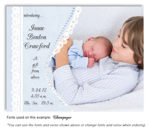 Blue Photo Birth Announcement Magnet