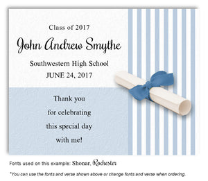 Blue Striped Thank You Graduation Magnet