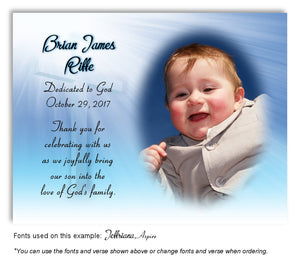 Blue Illuminated Cross Thank You Photo Dedication Magnet