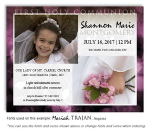 Dark Pink Invitation Communion Photo Magnet