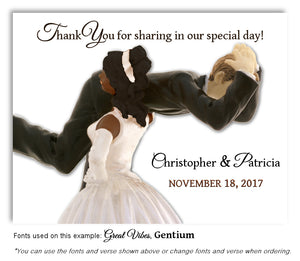 Dark-Skin-Black-Light-Skin-Dark-Blonde-Hair-Thank-You-Humorous Wedding Magnet