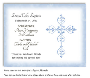 Denim Blue Simple Filigree Thank You Baptism | Christening Magnet