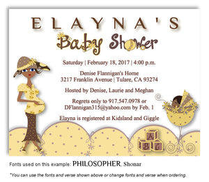 Gold Mommy and Me Invitation Baby Shower Magnet