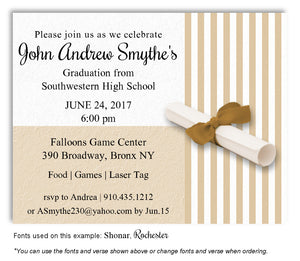 Gold Striped Invitation Graduation Magnet
