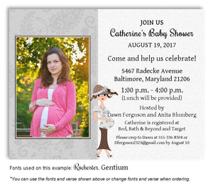 Gray Mommy Invitation Photo Baby Shower Magnet