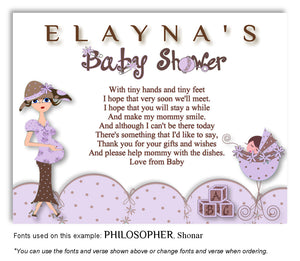 Lavender Mommy and Me Thank You Baby Shower Magnet