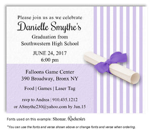 Lavender Striped Invitation Graduation Magnet