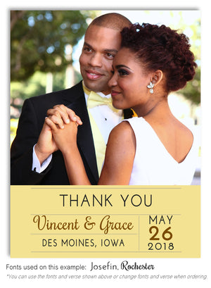 Light-Gold Thank You Wedding Photo Magnet