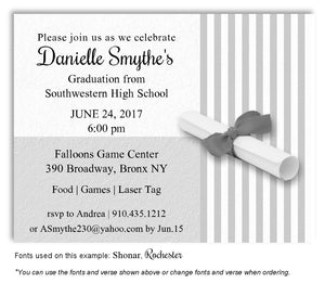 Light Gray Striped Invitation Graduation Magnet