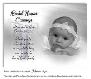 Light Gray Illuminated Cross Thank You Photo Dedication Magnet